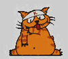 very silly looking cartoon cat with its tongue out