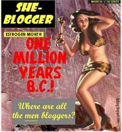retro cavewoman asks where are all the men bloggers